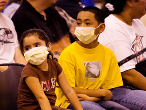 Patients wear masks in the free clinic