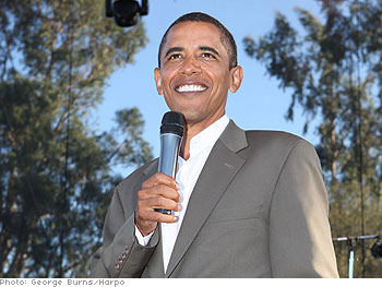 Barack Obama gives a speech at Oprah's Montecito estate.