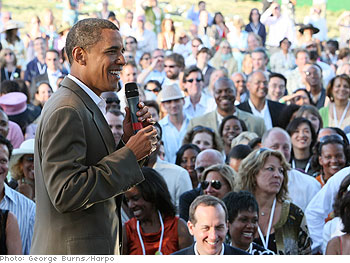 Barack Obama stands in front of 1,500 supporters at Oprah's Montecito estate.
