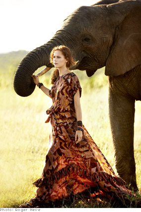Silk Yves Saint Laurent dress on model with elephant
