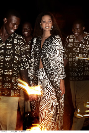 Zebra-print beaded silk georgette caftan and silk crepe pants