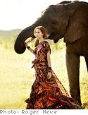 Model with elephant