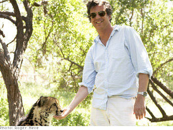 Adam Glassman with cheetah