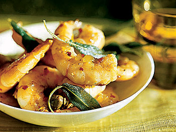 Shrimp with Meyer Lemons, Capers and Fried Sage Leaves