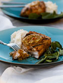 Mahimahi with Garlic-Yogurt Potatoes and Almond-Orange Pesto