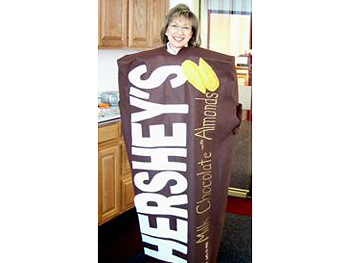 Maggie dressed as a Hershey's bar.