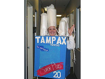 Stephanie dressed as a box of Tampax.