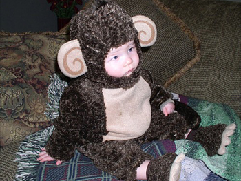 Christie's son dressed as a monkey.