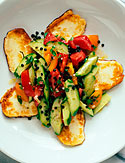 Halloumi Cheese with Cucumber Lentil Salad