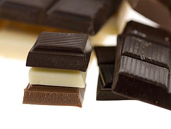 White, dark and milk chocolate