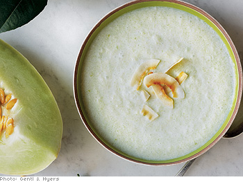 Chilled Melon, Cucumber and Coconut Milk Soup