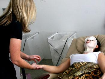 Woman receiving a spa treatment