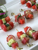 Tuna and Watermelon Skewers with Lemon Coulis
