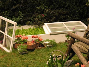 A demonstration of a raised garden bed.