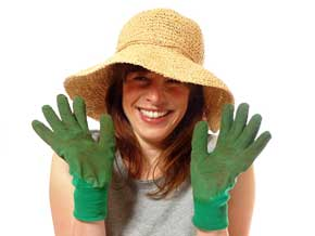 Woman with garden gloves