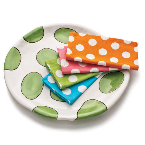 Sally Russell Polka-Dot Napkins and Platter