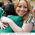 Mariah Carey hugs a student at Oprah's Leadership Academy South Africa