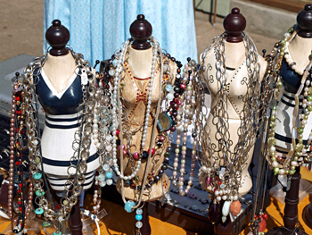 Flea market booth with jewelry