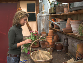 Woman looking at flower pots
