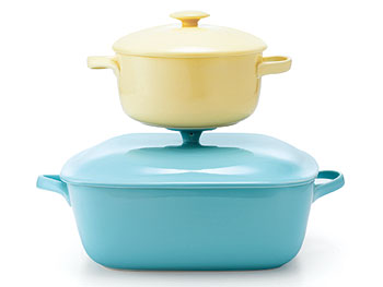 The Décor Home List: Covered Bakers :  dishes home cookware pastel