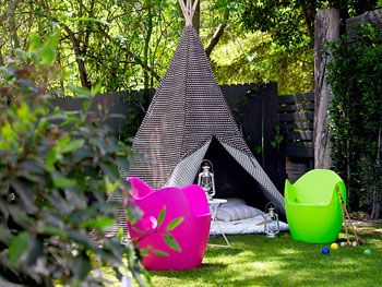 Actress Jennifer Carpenter's backyard tepee