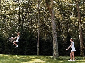 Swinging in the backyard