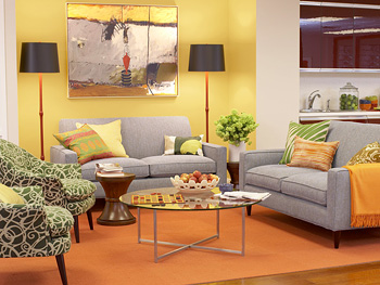 Colorful accents make a sitting area feel homey.