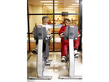 Residents take the new Gym Source bikes for a spin.