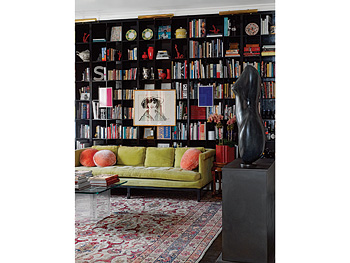 A green couch and black bookshelf make the room unpredictable.