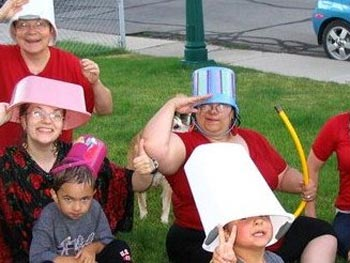 Rebecca's family prepares for the water fight.