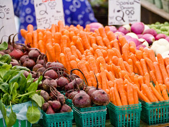 Veggies at a farmer's market
