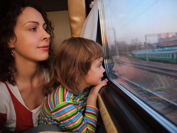 Mother and daughter on the train