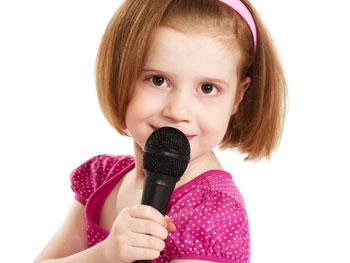 Girl singing karaoke