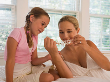 Mother and daughter with jewelry