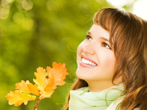 Woman enjoying autumn