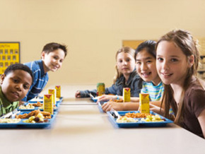Children eating in the cafeteria