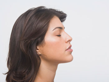 Woman focusing on her breathing