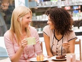 Women having fun conversation