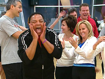 Reggie Wells in a laughing yoga class