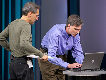 Dean, the stage manager, and Professor Randy Pausch