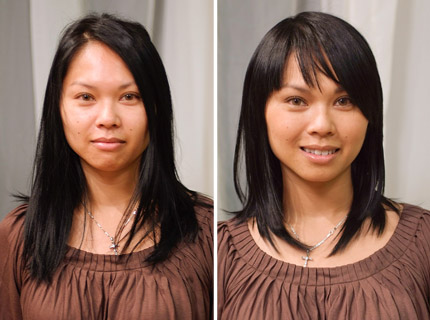 Hairstyles for long hair with bangs. Leang, who has a cross between square