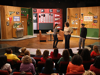 Kelly, Dean and Oprah on the recreated set of 'Happy Days.'