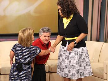 Oprah greets Amy and Matt Roloff.
