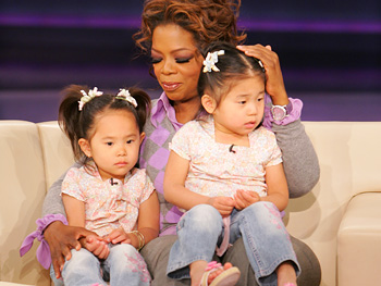 Oprah with twins Mia and Mia