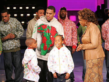 Oprah talks to Chris Brown and his little brothers.