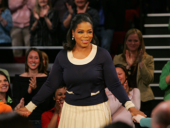 Oprah greets the audience for the taping of her special report on schools in America.