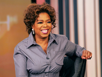 Oprah talks to the audience before a show taping.