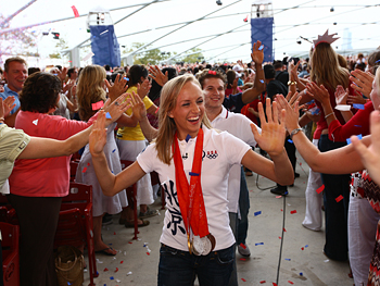 Nastia Liukin says hi to the crowd.