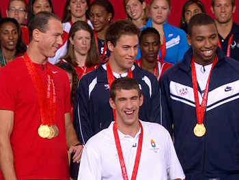 Michael Phelps, Jason Lezak, Cullen Jones and Garrett Weber-Gale