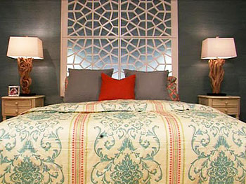 Ty Pennington created this decorative headboard and added LED lights.
